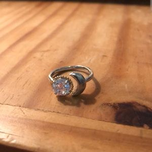 Gold and silver moon ring